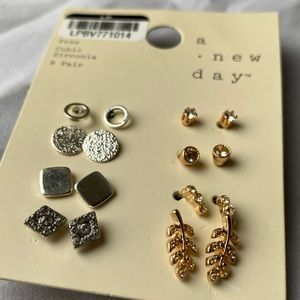 8 Pairs Nickle Free Cubic Zirconia Tiny Earrings